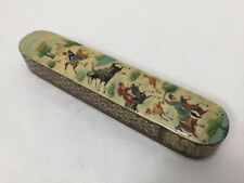 "Vintage India Papier Mache Kashmir Hunting Scene Incense Box, 8 1/4"" Long"