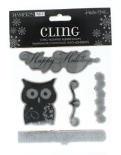 Hampton Art Cling Rubber Stamp Happy Holiday Wishes Owl Snow Flake Set