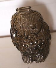 Vintage Wise Old Owl Smokey Greyish Brown Glass Piggy Bank