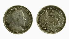 pci3820) Ethiopia 1 gersh silver coin King Menelik II 1889