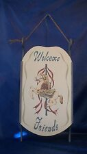 """Vintage 2 In 1 """"Welcome Friends"""" Wall Hanging & Shelf with Carousel Horse"""