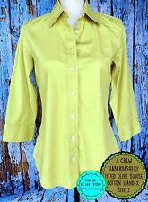 J CREW HABERDASHERY Size S Olive Green Shaped Button Front Blouse Stretch Fitted