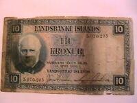 1928 Iceland 10 Kronur G Good Original Scarce Landsbanki Island Paper Money p28a