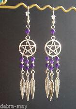 Amethyst Bead Pentagram Dreamcatcher Dangly Feather Charm Earrings - Wicca