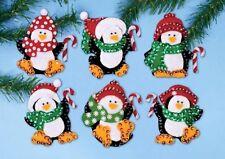 Felt Embroidery Kit ~ Design Works Cute Penguins Christmas Ornaments (6) #DW5308