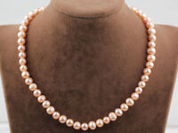 Stunning 7-8mm Peach Colour Pearl Necklace 46cm