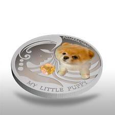 Fiji 2013 Dogs & Cats 2 My Little Puppy POMERANIAN + GEM STONE 1Oz Silver NEW