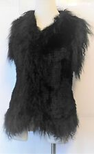 Love Token Rabbit Fur Vest Size XS Sleeveless Black NWT