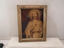 antique picture frame /decorative brass corners- Christ, 6 X 8  inches   # 1104