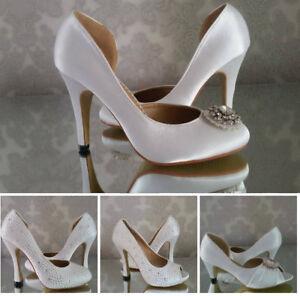 Ladies Vintage Satin Crystal Bridal Wedding Shoes Bridesmaid Prom High Heel