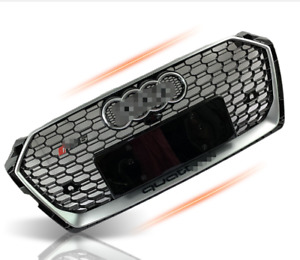 For AUDI A5 S5 B9 17-19 RS5 style front bumper Honeycomb Mesh Grill sliver logo