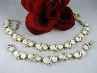 Vintage Faux MOP & Rhinestone Necklace Bracelet Set FERAL CAT RESCUE