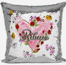 Personalised Any Name Silver Sequin Cushion Cover Floral Gift    91