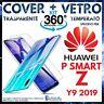 COVER TRASPARENTE + PELLICOLA VETRO TEMPERATO HUAWEI P SMART Z / Y9 PRIME 2019