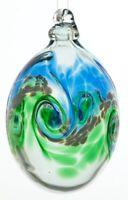 Kitras Mini Easter Egg Glass Ornament, Blue/Green