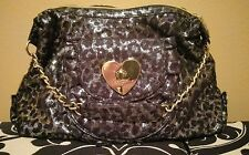 Betsey Johnson Leopard Cheetah Black and Silver Metallic Shoulder Satchel Bag