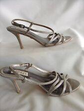"Womens 6.5M silver Badgley Mischka  3.25"" high heel strappy sling shoes GCond"