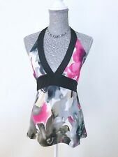 CAROLINE MORGAN CKM Abstract Floral Halter Top Size L Stretch Black Pink Grey