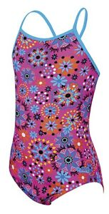 Zoggs Junior Girls Folktale Strappy Hi Front Pink Swimming Costume Ages 12 - 14