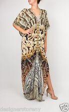 Camilla 'The Fifth World' Crystal Embellished Print Silk Caftan Dress