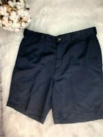 Mens Haggar Navy Blue Chino Shorts Size 36 Flat Front Stretch Tab Inseam 8""