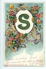 """S"" S Name with Roses and Cherubs Vintage Postcard"