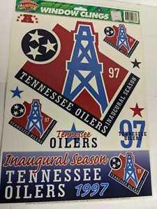 Vintage Tennessee Oilers 1997 Inaugural Season Window Clings NFL Titans, Houston
