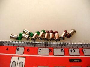 10x Steck-Birne MS4; 19 V rot+grün für Märklin Zubehör #LA4