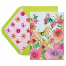 Lovely Papyrus Mother's Day card  Watercolor Butterflies with Rhinestones Floral