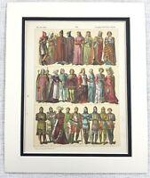 1895 Antico Stampa 14th Secolo Inglese Royal Costume Abito Moda Mezzo Età