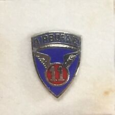 """11th Airborne Division Air Borne Shield- US Army- 3/8"""" Lapel Pin/ Tie Tack-NOS"""