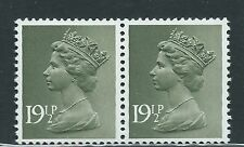 Gb unused Sg x957, Scott Mh110 19.5p olive-gray pair Machin Mnh