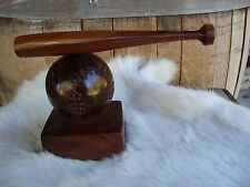 "BASEBALL & BAT Ironwood Hand Carved/Sanded/Polished 8"" Baseball Great Gift NEW"