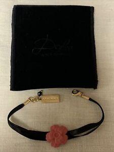 Lovely Dolce & Gabbana Pink Flower Black Cord Bracelet W Original Velvet Pouch