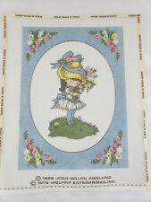 Joan Walsh Anglund Needlepoint Canvas Wolfpit England Little Girl Vtg 1970s