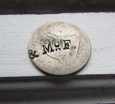 Rare Merchant COUNTERSTAMP---offset----Philladelphia 1856 Seated Liberty Quarter