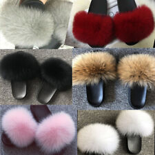 Ladies Real Extra Thick Fur Flat Sliders Slippers Super Fluffy Flip Flop Sandals