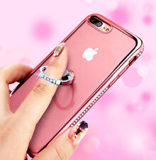 iPhone 7+ / 8+ PLUS - Rose Gold Diamond Bling Ring Holder TPU Rubber Case Cover