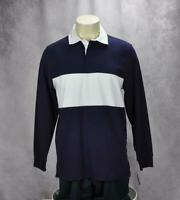 Club Room Mens Color Block Long Sleeve Rugby Shirt Size Large Blue