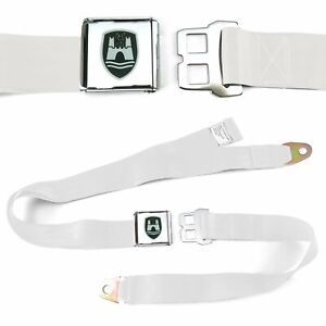 VW Volkswagen Wolfsburg White Lap Seat Belt Chrome Buckle fits Bug Bus Ghia