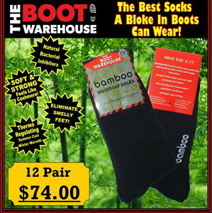 TBW Bamboo Work Boot Socks. Safety, Leather, Soft Toe & Steel Cap Boots. 12 PAIR