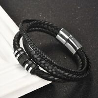 Fashion Stainless Steel Leather Bangle Bracelets for Men's Cool Jewelry