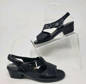 SAS Suntimer Sandals Women Size 6.5 N Black Croc Patent Leather Outdoor Shoes
