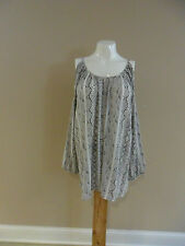 Jaclyn Smith Women's Plus Cold Shoulder Top Snakeskin Print Gray Size:3X NEW