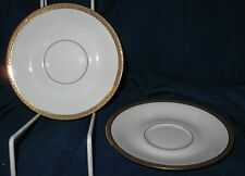 "2 LIMOGES France A. Lanternier Saucers 5 3/4"" Gold Encrusted  Band, Very good"