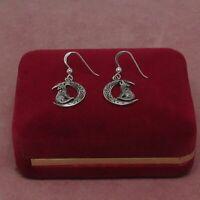 Sterling Silver drop dangle earrings Coyote Wolf Moon 925 hallmark
