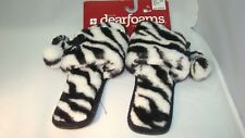 Dearfoams Women's Slippers Black & White Zebra Print Slip Ons Size Medium 7 - 8