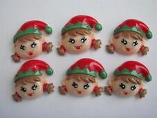 BB FLATBACKS ELF GIRLS ELVES pk of 6 cabochons flat backs christmas xmas cards