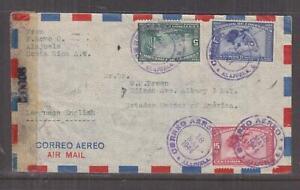 COSTA RICA, 1944 Airmail Censored cover, Alajuela to USA, 5c., 15c., 40c.