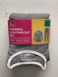 Fruit of the Loom GIRLS Large (10-12) Thermal Long Underwear Set - Heather Grey